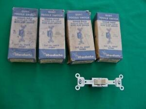 Vintage Rodale Lot Of 4 Ivory Quiet Toggle Switches Single Pole 15 Amp Nib