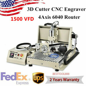 Usb 1 5kw Vfd 4 Axis 6040 Cnc Router Engraver Metal Milling Machine Engraving