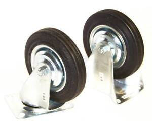 4 Caster Wheels With Bearings 8 Pc 4pc Swivel 4pc Fixed Hard Rubber Wheel