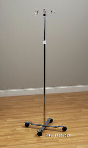 Iv Pole Iv Stand 2 Hook 4 Leg With Wheels 241
