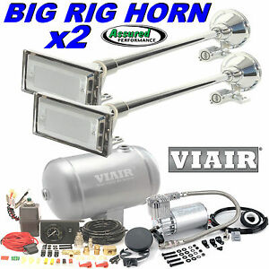2 X Big Rig Truck Air Horn Kit W Viair 275c Compressor 150psi 1 G System Mack