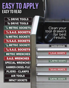 Tool Box Labels Organize Wrenches Sockets Cabinets Fast Easy Green Edition