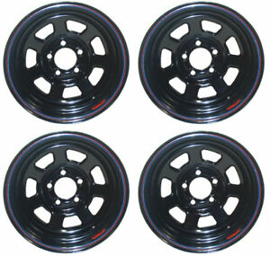 New 15 X 10 Allied Racing Wheel Set Black 5 X 4 75 2 Bs Chevy Buick Gm Olds Gmc