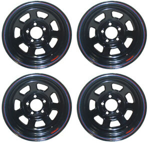 New 15 X 10 Allied Racing Wheel Set Black 5 X 5 Bs 5 5 Chevy Buick Gm Olds Gmc