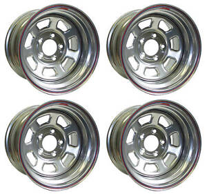 New 15x8 Allied Racing Wheel Set silver 5 X 5 bs 5 chevy buick olds gmc