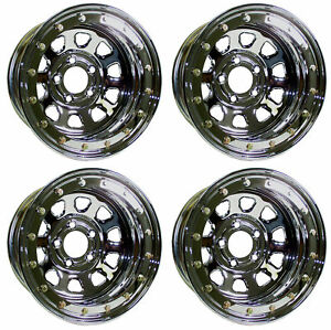 New 15x8 Beadlock Racing Wheel Set Chrome 5 X 5 2 Bs Chevy Buick Gm Pontiac