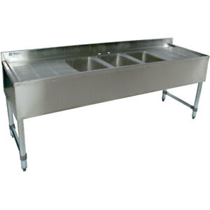 Stainless Steel Bar Sink 72 Three Compartment