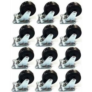 48 Pcs 2 Caster Wheels Rubber Wheels With Swivel Base