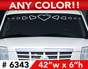 Hello Kitty Hearts Bow Windshield Decal Sticker 42 Wx6