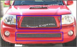 Fit 2005 2010 Toyota Tacoma Billet Grille combo Upper lower Replacement 4pc