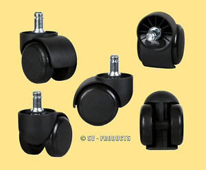 100 Office Chair Casters Soft Roll Rubber Wheels 132