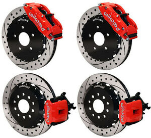 Wilwood Disc Brake Kit 94 04 Ford Mustang 14 13 Rotors red Calipers drilled
