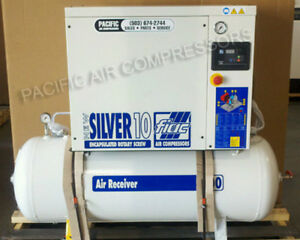 New 10hp Tank Mount Rotary Air Compressor Free Shipping 33 Cfm 145 Psi