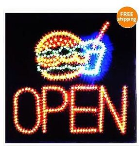 Led Neon Animated Motion Hamburger Burger Open Sign L74