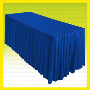 8 Fitted Table Skirt Cover W top Topper Wedding Banquet Tablecloth Royal Blue