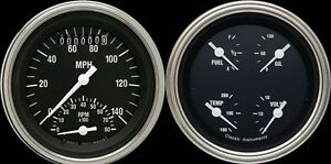 Hot Rod Series Black 2 Gauge Set 3 3 8 Ultimate Speedometer Tachometer Combo