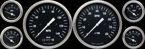 Hot Rod Series 6 Gauge Set Black 4 5 8 Speedometer Tachometer W Curved Lens