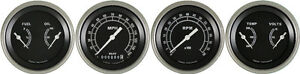 Traditional Series 4 Gauge Set 3 3 8 Speedometer Tach Duals W Curved Lenses