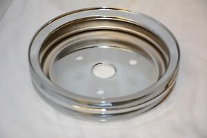 Sbc 305 350 Small Block Chevy 2 Groove Chrome Crank Pulley Short Water Pump Swp