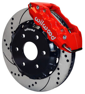 Wilwood Disc Brake Kit front gmc chevy Truck 1500 14 Drilled Rotors red Caliper