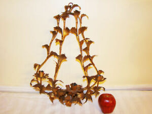 Vintage Gilt Tole Wall Candle Holder Sconce