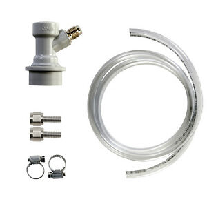 Ball Lock Gas Line Disconnect Threaded Pigtail Assembly Hose Clamp Homebrew Kegs