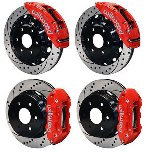 Wilwood Disc Brake Kit gmc chevy Truck 1500 2p 16 14 red Calipers drilled Rotors