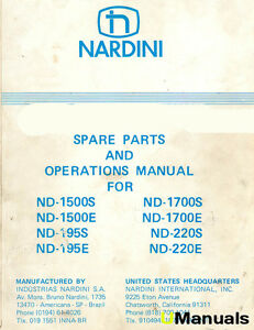 Nardini Nd Series Lathes Operations And Parts Manual