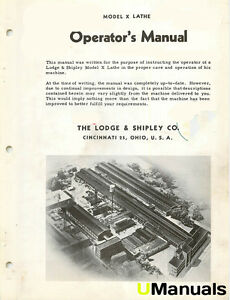 Lodge And Shipley Model X Lathe Instruction And Parts Manual