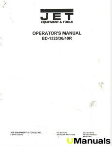 Jet Bd 1325 36 40r Lathe Instruction Manual