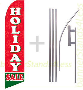 Holiday Sale Swooper Flag Kit Feather Flutter Banner Sign 15 Tall Rb
