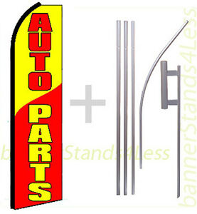 Auto Parts Swooper Flag Kit Feather Flutter Banner Sign 15 Set
