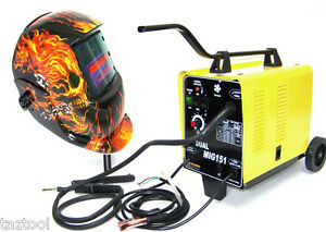 Flux Core Wire Welder Dual Mig 151 Gas 230v And Flame Welding Helmet Mask