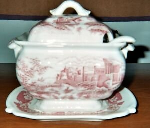 English Transferware Tureen 4 Pieces Bowl Lid Platter Ladle Red On White