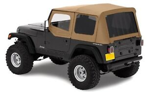 1988 1995 Jeep Wrangler Soft Top Upper Skins Tinted Rear Windows Spice Tan