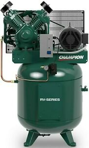 New 7 5hp 2 Stage 3 Phase 80gal Vertical Champion Air Compressor W after Cooler