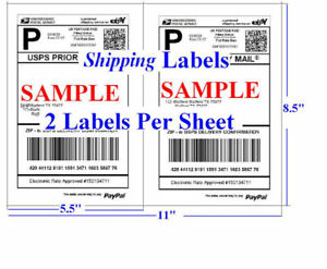 S 2000 Shipping Labels Self Adhesive Half Sheet 5 5 X 8 5 Usps Ups Ebay Fedex