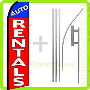 Auto Rentals Swooper Flag Kit Feather Flutter Banner Sign 15 Set Q