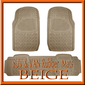 Fits Toyota Highlander Heavy Duty Semi Custom Tan Beige Rubber Floor Mats 3 Pcs