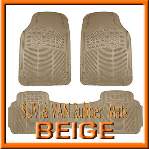 Fit Ford Expedition All Weather Semi Custom Tan Beige Rubber Floor Mats 3pcs