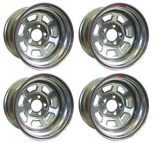 New 15x10 Allied Racing Wheel Set Silver 5 X 4 75 5 Bs 7950034 50 Chevy Buick