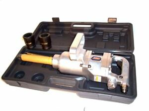 1 Inch Drive Air Impact Wrench Tool Gun 1 Dr Long Shank 2 Sockets 1900 Lb Hd