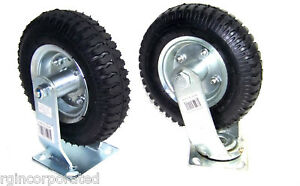 4 Heavy Duty 8 Air Tire Base Wheel With Bearing 2 Swivel And 2 Fixed