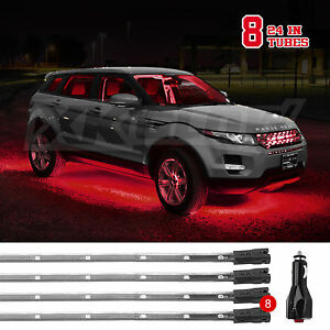 Us Seller 8 Tube Led Neon Underglow Interior Accent Light Kit 3 Modes Red