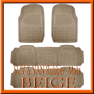 Fits 4 Pcs Ford Expedition Heavy Duty Beige Rubber Floor Mats Full Set
