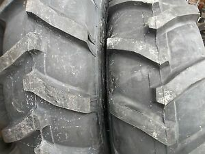 Two 13 6x28 13 6 28 John Deere 2030 8 Ply R 1 Bar Lug Tractor Tires With Tubes