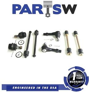 8 Parts Kit Suspension Ball Joint Inner Outer Tie Rod Sway Bar Link Coil Spring