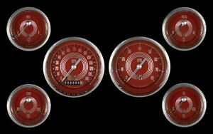 V8 Red Steelie Series 6 Gauge Set 240 33 Ohm 3 3 8 Classic Instrument V8rs01shc
