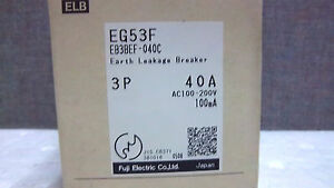 Fuji Electric 3pole 40amp Earth Leakage Breaker Eg53f Eb3bef 040c New Eg53f