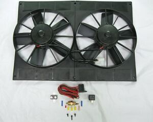 Universal 11 Pro Series Dual Radiator Cooling Fan 2 780 Cfm 185 Deg Relay Kit